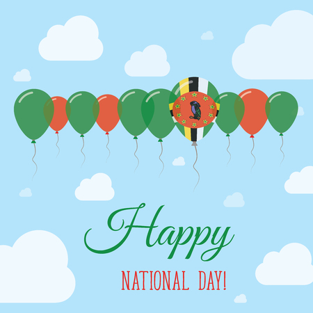 Dominica National Day Flat Patriotic Poster. Row of Balloons in Colors of the Dominican flag. Happy National Day Card with Flags, Balloons, Clouds and Sky.