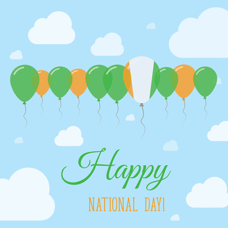 Cote DIvoire National Day Flat Patriotic Poster. Row of Balloons in Colors of the Ivorian flag. Happy National Day Card with Flags, Balloons, Clouds and Sky. Ilustração