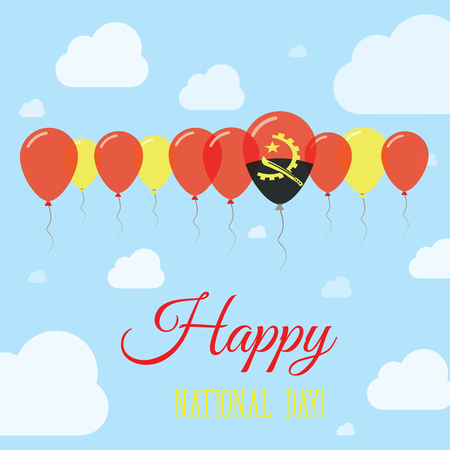 Angola National Day Flat Patriotic Poster. Row of Balloons in Colors of the Angolan flag. Happy National Day Card with Flags, Balloons, Clouds and Sky.