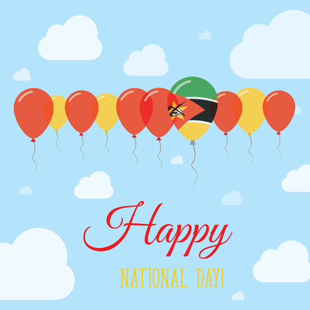 Mozambique National Day Flat Patriotic Poster. Row of Balloons in Colors of the Mozambican flag. Happy National Day Card with Flags, Balloons, Clouds and Sky.