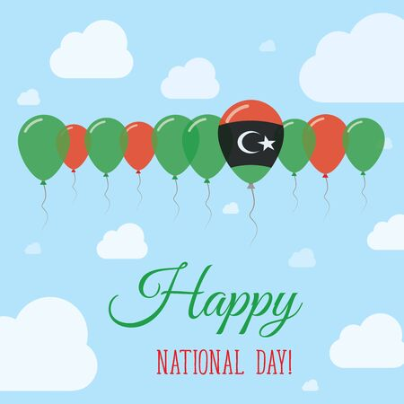 Libya National Day Flat Patriotic Poster. Row of Balloons in Colors of the Libyan flag. Happy National Day Card with Flags, Balloons, Clouds and Sky.