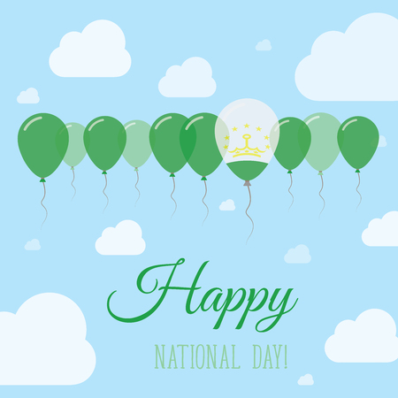 Tajikistan National Day Flat Patriotic Poster. Row of Balloons in Colors of the Tadzhik flag. Happy National Day Card with Flags, Balloons, Clouds and Sky. Illustration