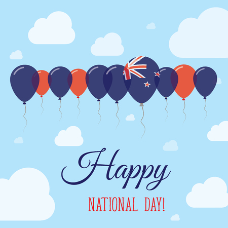 New Zealand National Day Flat Patriotic Poster. Row of Balloons in Colors of the New Zealander flag. Happy National Day Card with Flags, Balloons, Clouds and Sky.