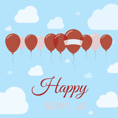 Latvia National Day Flat Patriotic Poster. Row of Balloons in Colors of the Latvian flag. Happy National Day Card with Flags, Balloons, Clouds and Sky.