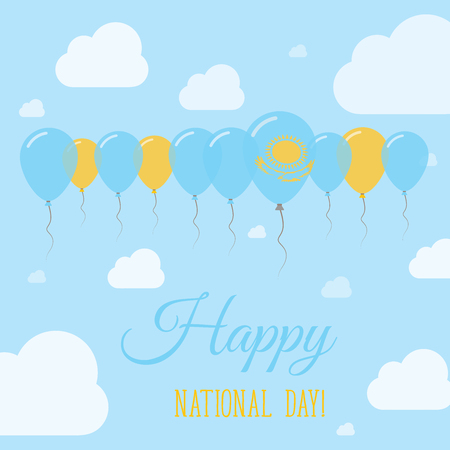 Kazakhstan National Day Flat Patriotic Poster. Row of Balloons in Colors of the Kazakhstani flag. Happy National Day Card with Flags, Balloons, Clouds and Sky.
