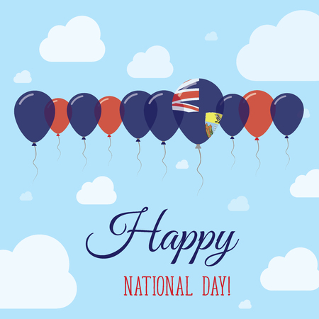 Saint Helena National Day Flat Patriotic Poster. Row of Balloons in Colors of the Saint Helenian flag. Happy National Day Card with Flags, Balloons, Clouds and Sky.