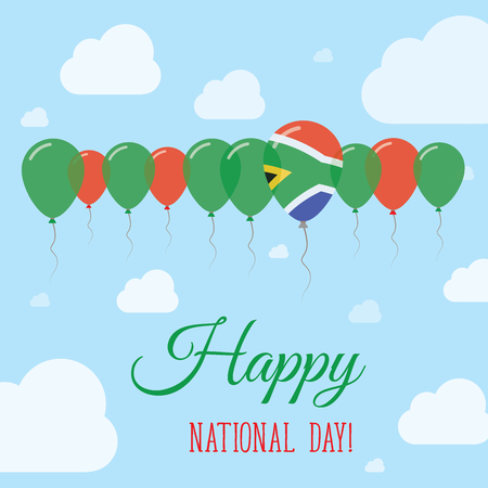 national identity: South Africa National Day Flat Patriotic Poster. Row of Balloons in Colors of the South African flag. Happy National Day Card with Flags, Balloons, Clouds and Sky.