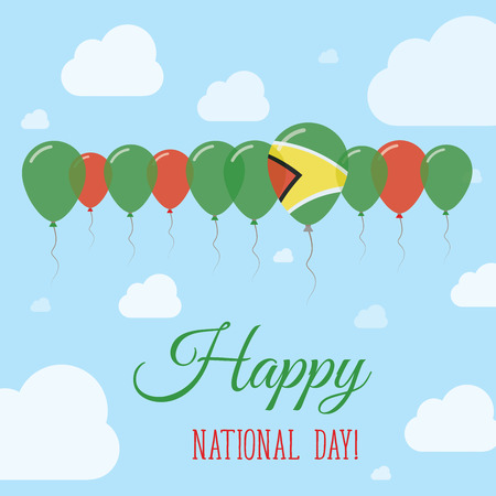 Guyana National Day Flat Patriotic Poster. Row of Balloons in Colors of the Guyanese flag. Happy National Day Card with Flags, Balloons, Clouds and Sky. Illustration