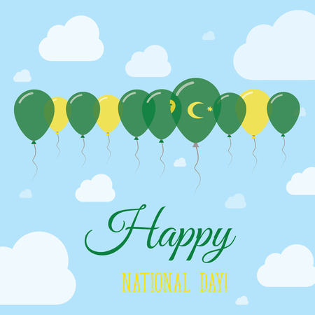 Cocos (Keeling) Islands National Day Flat Patriotic Poster. Row of Balloons in Colors of the Cocos Islander flag. Happy National Day Card with Flags, Balloons, Clouds and Sky.