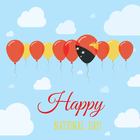 Papua New Guinea National Day Flat Patriotic Poster. Row of Balloons in Colors of the Papua New Guinean flag. Happy National Day Card with Flags, Balloons, Clouds and Sky. Illustration