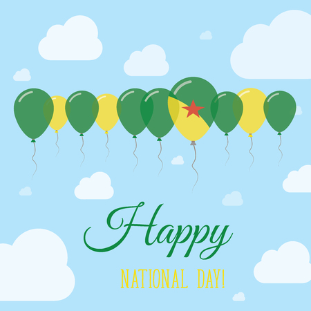 French Guiana National Day Flat Patriotic Poster. Row of Balloons in Colors of the French Guiana flag. Happy National Day Card with Flags, Balloons, Clouds and Sky.