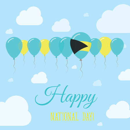 Bahamas National Day Flat Patriotic Poster. Row of Balloons in Colors of the Bahamian flag. Happy National Day Card with Flags, Balloons, Clouds and Sky.