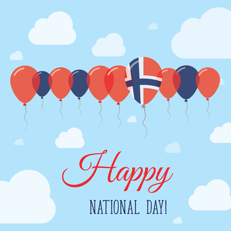 Norway National Day Flat Patriotic Poster. Row of Balloons in Colors of the Norwegian flag. Happy National Day Card with Flags, Balloons, Clouds and Sky.