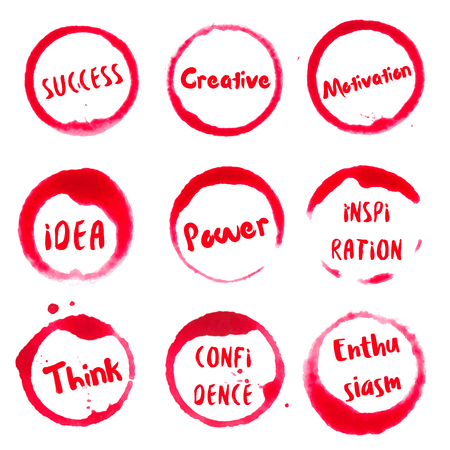 Successful Words collection of round watercolor stains with success, idea, creative, motivation, power, think, confidence, inspiration, enthusiasm text. Set of vector Successful Words stamps. Illustration