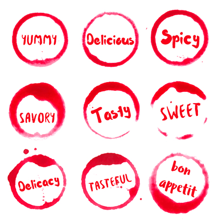 Delicious collection of round watercolor stains with yummy, delicious, spicy, savory, tasty, sweet, delicacy, tasteful, bon appetit text. Set of vector Delicious stamps.