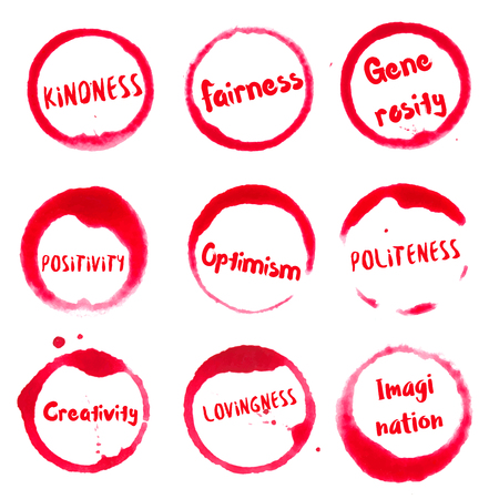 Positive Character Features collection of round watercolor stains with kindness, fairness, generosity, politeness, lovingness, positivity, creativity, optimism, imagination text.