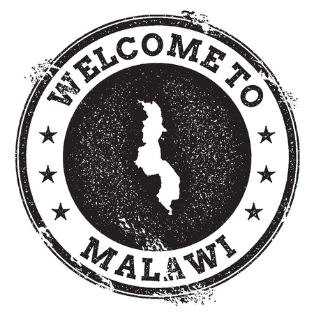 mal: Vintage passport welcome stamp with Malawi map. Grunge rubber stamp with Welcome to Malawi text, vector illustration.
