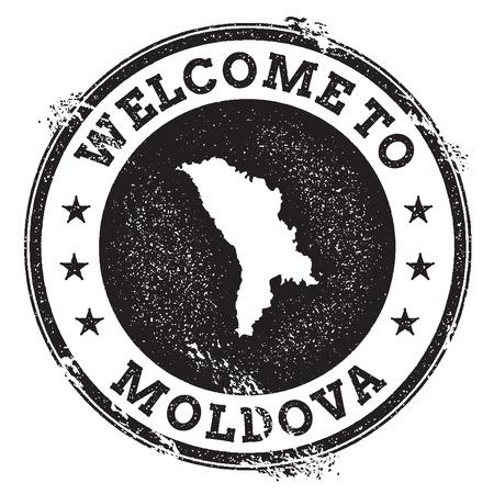 Sello de bienvenida de pasaporte de la vendimia con Moldavia, República de mapa. Sello de goma del Grunge con la recepción a Moldova, República del texto, ilustración del vector.