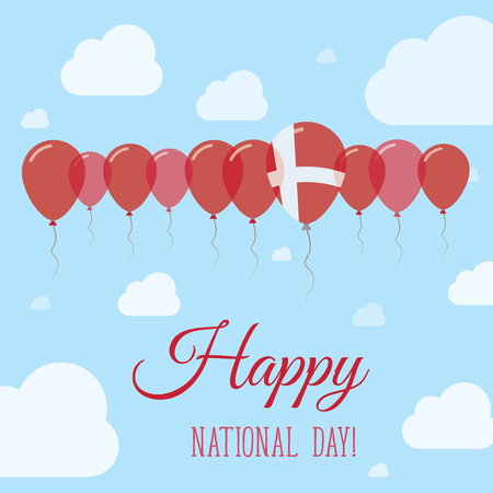 Denmark National Day Flat Patriotic Poster. Row of Balloons in Colors of the Danish flag. Happy National Day Card with Flags, Balloons, Clouds and Sky.