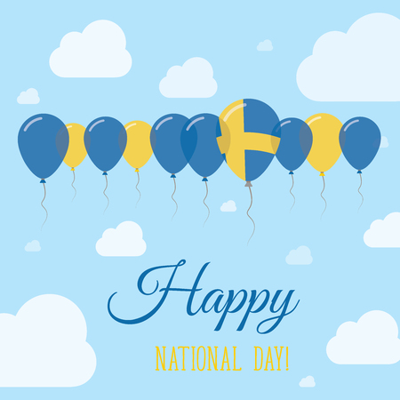 Sweden National Day Flat Patriotic Poster. Row of Balloons in Colors of the Swedish flag. Happy National Day Card with Flags, Balloons, Clouds and Sky. Illustration