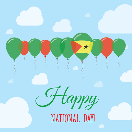 Sao Tome and Principe National Day Flat Patriotic Poster. Row of Balloons in Colors of the Sao Tomean flag. Happy National Day Card with Flags, Balloons, Clouds and Sky.
