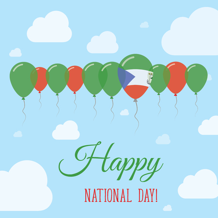 Equatorial Guinea National Day Flat Patriotic Poster. Row of Balloons in Colors of the Equatorial Guinean flag. Happy National Day Card with Flags, Balloons, Clouds and Sky.