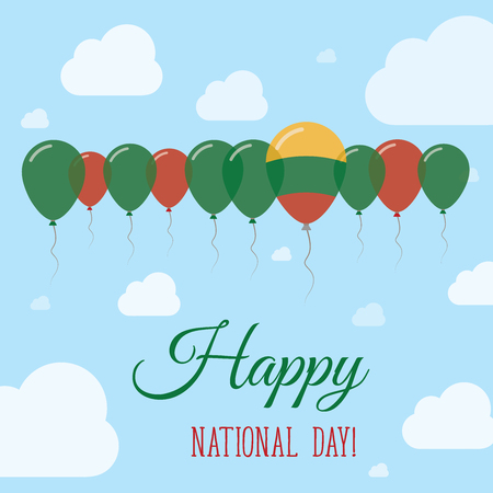 Lithuania National Day Flat Patriotic Poster. Row of Balloons in Colors of the Lithuanian flag. Happy National Day Card with Flags, Balloons, Clouds and Sky. Illustration