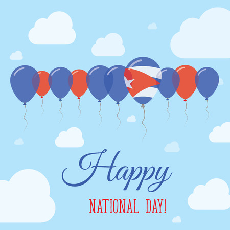 national identity: Cuba National Day Flat Patriotic Poster. Row of Balloons in Colors of the Cuban flag. Happy National Day Card with Flags, Balloons, Clouds and Sky.