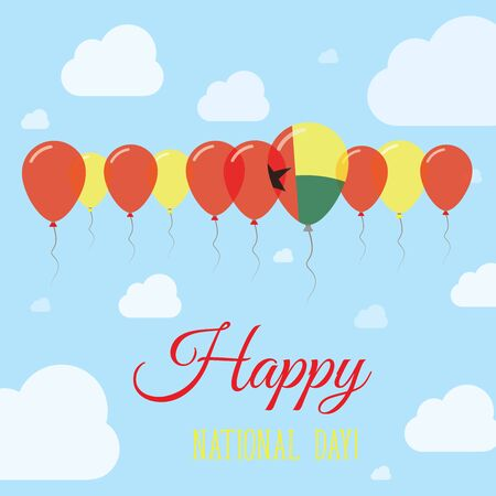 Guinea-Bissau National Day Flat Patriotic Poster. Row of Balloons in Colors of the Guinea-Bissauan flag. Happy National Day Card with Flags, Balloons, Clouds and Sky.