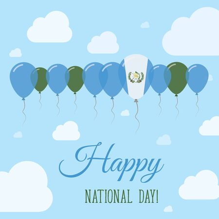 guatemalan: Guatemala National Day Flat Patriotic Poster. Row of Balloons in Colors of the Guatemalan flag. Happy National Day Card with Flags, Balloons, Clouds and Sky.