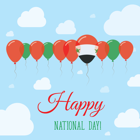 Syrian Arab Republic National Day Flat Patriotic Poster. Row of Balloons in Colors of the Syrian flag. Happy National Day Card with Flags, Balloons, Clouds and Sky.