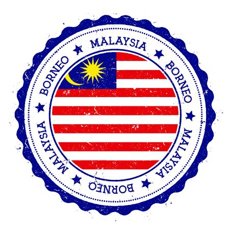 Borneo flag badge. Vintage travel stamp with circular text, stars and island flag inside it. Vector illustration.