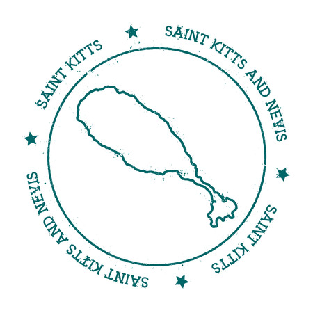 caribbean cruise: Saint Kitts vector map. Distressed travel stamp with text wrapped around a circle and stars. Island sticker vector illustration.