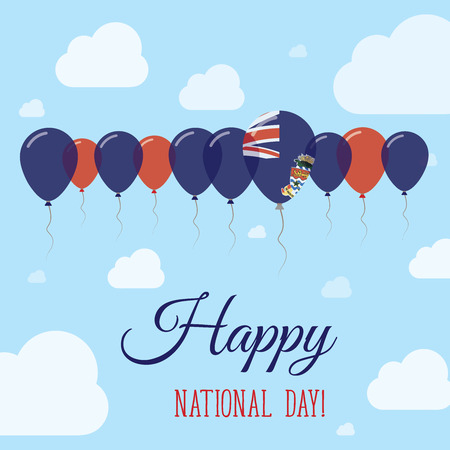 Cayman Islands National Day Flat Patriotic Poster. Row of Balloons in Colors of the Caymanian flag. Happy National Day Card with Flags, Balloons, Clouds and Sky.