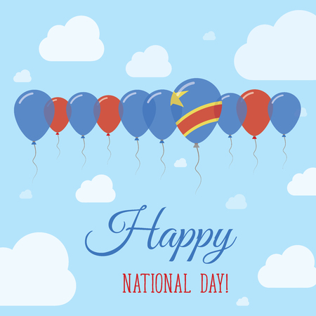 Congo, The Democratic Republic Of The National Day Flat Patriotic Poster. Row of Balloons in Colors of the Congolese flag. Happy National Day Card with Flags, Balloons, Clouds and Sky.