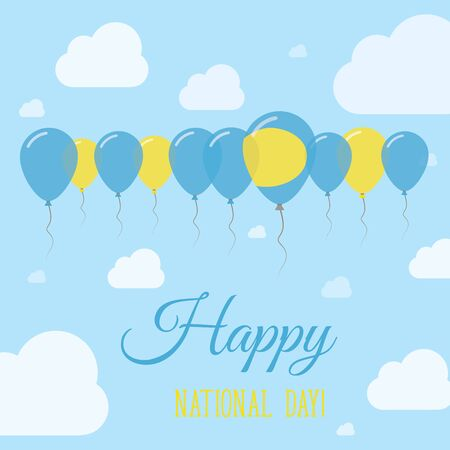 Palau National Day Flat Patriotic Poster. Row of Balloons in Colors of the Palauan flag. Happy National Day Card with Flags, Balloons, Clouds and Sky. Illustration