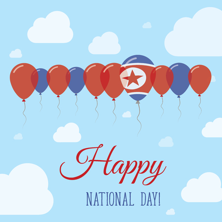 Korea, Democratic Peoples Republic Of National Day Flat Patriotic Poster. Row of Balloons in Colors of the North Korean flag. Happy National Day Card with Flags, Balloons, Clouds and Sky. Illustration