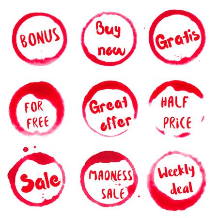 Great offer collection of round watercolor stains with bonus, buy now, gratis, for free, great offer, half price, madness, weekly deal, sale text. Set of vector Great offer stamps. Illustration