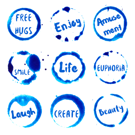 beauty smile: Joyful Words collection of round watercolor stains with free hugs, smile, laugh, enjoy, euphoria, amusement, create, life, beauty text. Set of vector Joyful Words stamps.