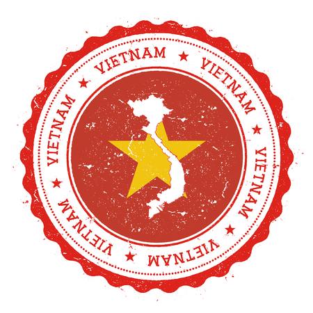 genuine: Vietnam map and flag in vintage rubber stamp of state colours. Grungy travel stamp with map and flag of Vietnam. Country map and flag vector illustration.