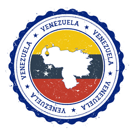 Venezuela, Bolivarian Republic of map and flag in vintage rubber stamp of state colours. Grungy travel stamp with map and flag of Venezuela, Bolivarian Republic of.
