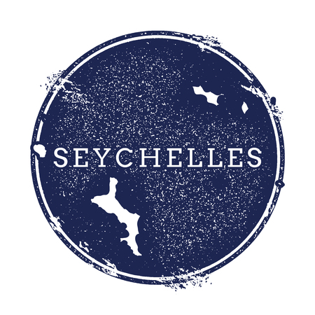 Seychelles vector map. Grunge rubber stamp with the name and map of island, vector illustration. Can be used as insignia, logotype, label, sticker or badge.