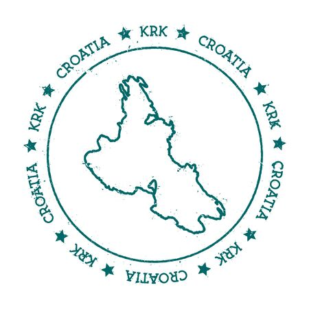 Krk vector map. Distressed travel stamp with text wrapped around a circle and stars. Island sticker vector illustration. 向量圖像