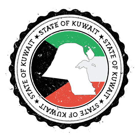 Kuwait map and flag in vintage rubber stamp of state colours. Grungy travel stamp with map and flag of Kuwait. Country map and flag vector illustration.