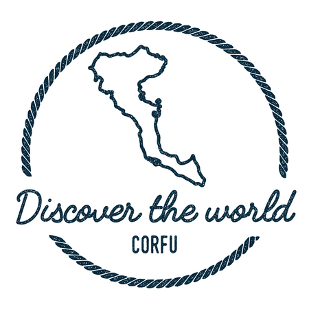 trotting: Corfu Map Outline. Vintage Discover the World Rubber Stamp with Island Map. Hipster Style Nautical Insignia, with Round Rope Border. Travel Vector Illustration.