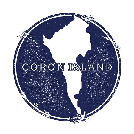 Coron Island vector map. Grunge rubber stamp with the name and map of island, vector illustration. Can be used as insignia, logotype, label, sticker or badge. Illustration