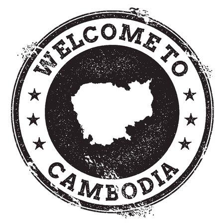 Timbre de bienvenue passeport vintage avec carte Cambodge. Timbre en caoutchouc grunge avec Bienvenue au texte du Cambodge, illustration vectorielle.