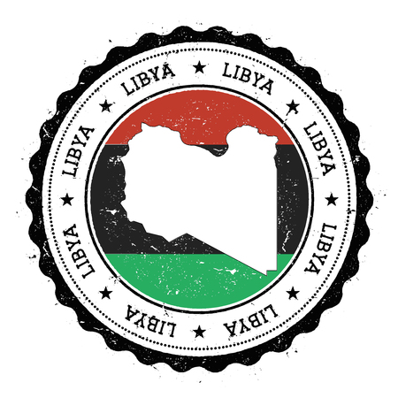 variegated: Libya map and flag in vintage rubber stamp of state colours. Grungy travel stamp with map and flag of Libya. Country map and flag vector illustration.