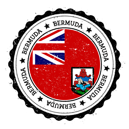 Bermuda flag badge. Vintage travel stamp with circular text, stars and island flag inside it. Vector illustration.