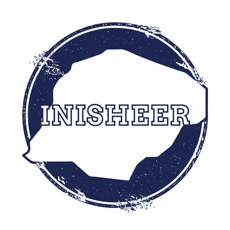 Inisheer vector map. Grunge rubber stamp with the name and map of island, vector illustration. Can be used as insignia, logotype, label, sticker or badge.
